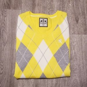 Express cotton v-neck argyle sweater, yellow